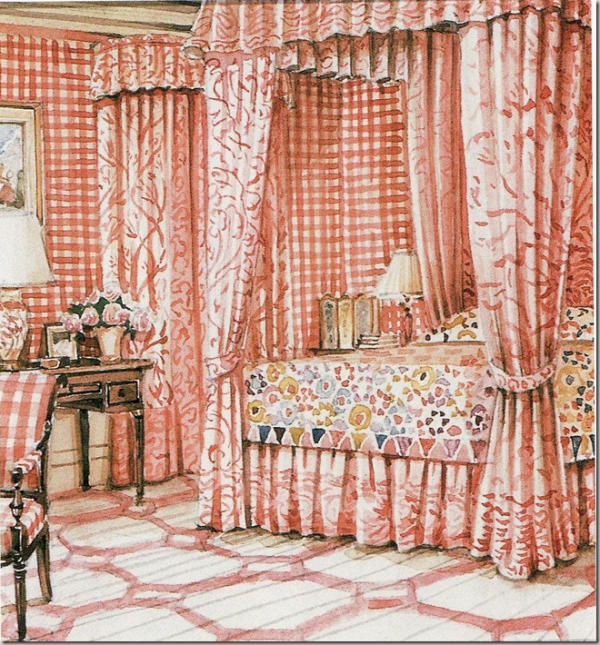 Renzo Mongiardino, bedroom watercolor of rug, Mark Hampton